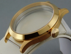 45mm Sapphire Glass gold Watch case fit 6497/6498 Seagul ST36 watch movement p55