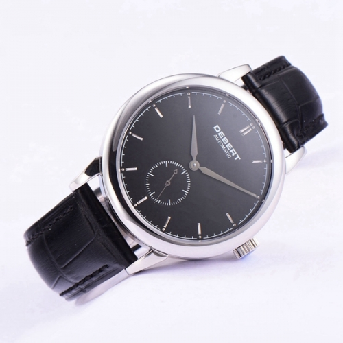 40mm Debert Sapphire glass Black dial Leather Strap Automatic mens Unisex Watch