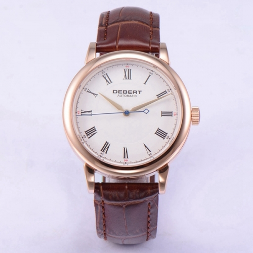 40mm Debert Rose Gold Case Sapphire Glass White Dial miyota 8215 Automatic Men Watch