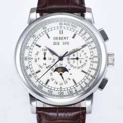 DEBERT 42MM Stainless steel case White Dial Multifunction Automatic Watch