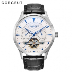 Corgeut 44mm Domed Glass White Dial Date&Day Mens Automatic Watch
