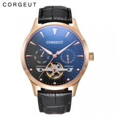Corgeut 44mm Black Dial Little Domed Glass Rosegold Case Day&Date Mens Automatic Watch