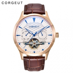 Corgeut 44mm Domed Glass White Dial Blue Hands & Marks Date&Day Automatic WristWatch