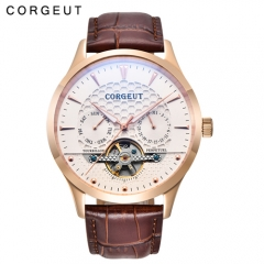 Corgeut 44mm Domed Glass Rosegold Case White Dial Mens Automatic WristWatches