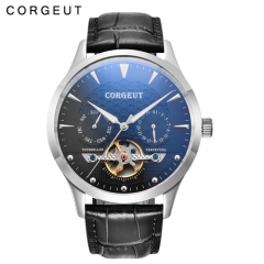 Corgeut 44mm Domed Glass Black Dial Date&Day Mens Automatic Watch