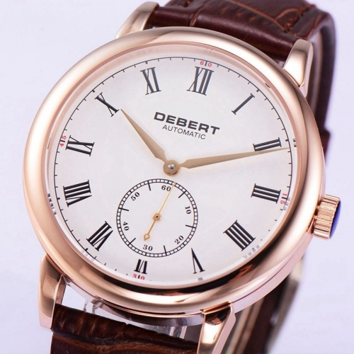 Debert 40mm White Dial sapphire glass Gold Hands Rosegold Case Men Automatic Watch DT004
