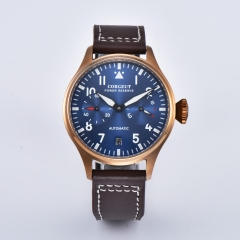 Corgeut 42mm Blue Dial Power Reserve Date Rose Gold Case Automaitc Men