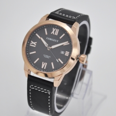 41mm Corgeut black dial rosegold case date luminous Sapphire Miyota automatic mens watch