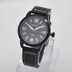 41mm Corgeut black dial PVB case date luminous Sapphire Miyota automatic mens watch