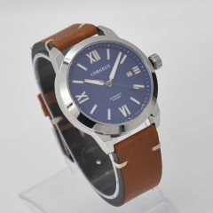 41mm Corgeut blue dial SS case date luminous Sapphire Miyota automatic mens watch