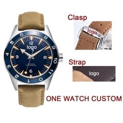 41mm Custom LOGO design blue dial sapphire glass Leather strap Luminous miyota Automatic mens Watch
