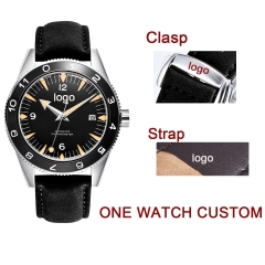 41mm Custom LOGO design black dial sapphire glass Leather strap Luminous miyota Automatic mens Watch
