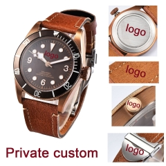 41mm Corgeut coffee DIY LOGO dial PVD Sapphire Glass miyota automatic mens Watch