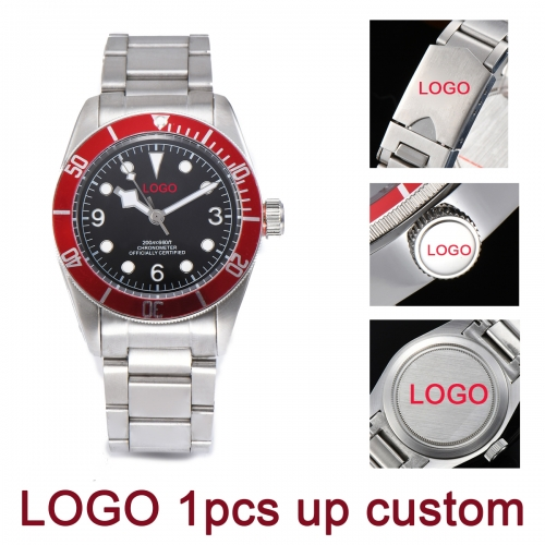 41MM DIY custom logo Red Bezel Sapphire glass Japan MIYOTA Automatic Movement Men Watch